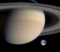Rough comparison of sizes of Saturn and Earth. Credit: PD-USGOV-NASA.