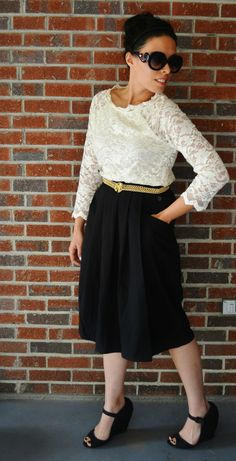 Thrift Shop Girl - Thrifted Outfit - gold belt, lace top, black pleated skirt.