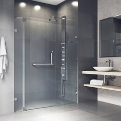 VIGO Pirouette H x to W Frameless Pivot Brushed Nickel Shower Door at Lowe's. The unique pivoting door system on the VIGO Pirouette Frameless pivot shower door makes it safe without sacrificing style, keeping the best of both Vigo Shower Doors, Bathtub Doors, Frameless Sliding Shower Doors, Double Sliding Doors, Glass Shower Doors, Vertical Doors, Slider Door, Modern Bathroom, Bathroom Ideas