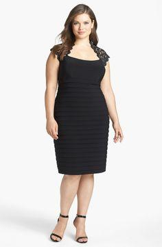 Xscape Lace Yoke Banded Sheath Dress (Plus Size)