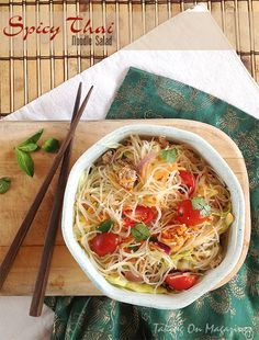 Spicy Thai Noodle Salad. Something to try with the angel hair variety of tofu shirataki noodles...