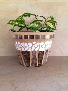Mosaic planter flower pot indoor planter rustic by moZEHicDesigns