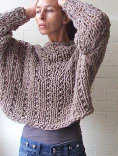 Get your Chunk on bamboo mix chunky sweater in Mushroom by ileaiye,