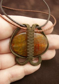 Amber Agate Wire Wrapped Pendant in by BuyThePlaceWithBeads