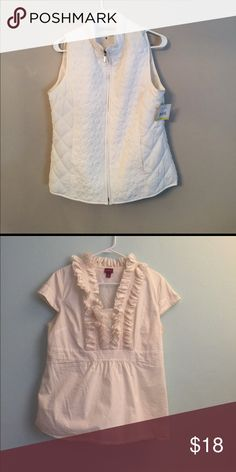 Bundle of vest and ruffled shirt White vest size medium new with tags white. Ruffled merona shirt in cream size XL new with out tags. Jackets & Coats Puffers