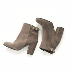 J. Crew Grey Suede Barrett Ankle Booties Worn once - grey ankle booties with chunky heel and gold buckle on the back and zipper on the inside from J. Crew. Excellent condition. J. Crew Shoes Ankle Boots & Booties