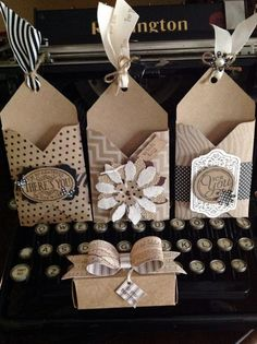 Gift card holders, treat box and bow all made with the Envelope Punch Board: