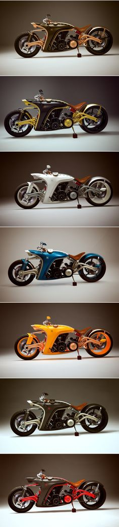 Cool Concept Bikes from Behance. Not Electric, just cool.