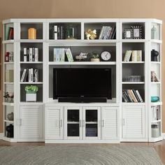 Built In Tv Wall Unit, Built In Shelves Living Room, Bedroom Built Ins, Tv Built In, Bookshelves With Tv, Built In Bookcase, Ikea Bookcase, Bookcases, Living Room Entertainment Center