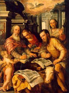 Die vier Evangelisten/The Four Evangelists, 1567, Joachim Beuckelaer; the saints are depicted with their symbolic attributes: Matthew's winged man (symbolising Christ's incarnation as a man); Luke's ox (his sacrifice); Mark's lion (his resurrection); and John's eagle (his ascent to heaven). (Staatliche Kunstsammlungen Dresden)
