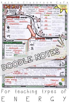 Scaffolded notes that encourage doodling and coloring! Allow time for students to interact with content in creative ways. Can be used for instruction or review of basic types of energy. Kate's Classroom Cafe