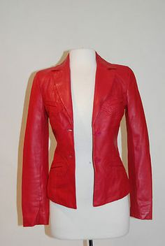 **UNGARO FEVER**FUSHIA 2 BUTTON FITTED BLAZER LEATHER JACKET SIZE 38...Now available at TMCLOSET.COM for $179.99.