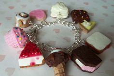 sweet treats polymer clay charm bracelet. $39.00, via Etsy.