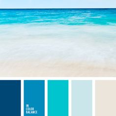 houten banking Bright turquoise, classic blue and dark blue, light blue and transparent white - this color combination brings back memories of sea foam and waves that cra. Beach Color Palettes, Blue Colour Palette, Colour Schemes, Blue Color Combinations, Room Colors, House Colors, Paint Colors, Colours, Design Seeds