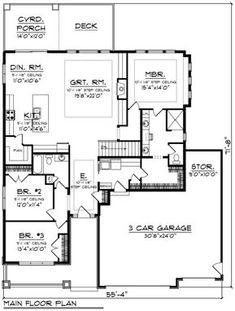 Ranch Style House Plan - 3 Beds 2 Baths 2005 Sq/Ft Plan #70-1485 Floor Plan - Main Floor Plan