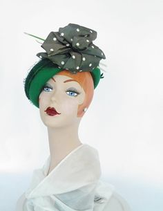1940s tilt bowler hat green with polka dot by TheVintageHatShop, $62.00