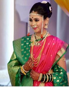 Unique Ideas For The Not-So-Traditional Bride To Be. Anyone who's ever been involved in preparing or planning a wedding, whether small or large, will tell you what an ordeal it can be. Marathi Bride, Marathi Wedding, Saree Wedding, Bouquet Wedding, Wedding Nails, Indian Bridal Fashion, Indian Bridal Wear, Nauvari Saree, Bridal Photoshoot