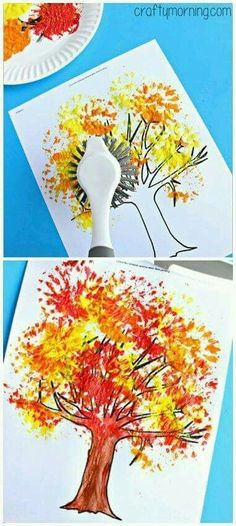 Dish brush tree painting fall crafts for kids, art for kids, autumn activities for Fall Crafts For Kids, Thanksgiving Crafts, Holiday Crafts, Kids Crafts, Art For Kids, Fall Art For Toddlers, Autumn Art Ideas For Kids, Fall Activities For Toddlers, Winter Craft