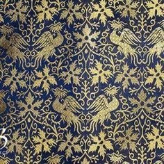14th century, Persian Brocade with Phoenix, Blue and Beige