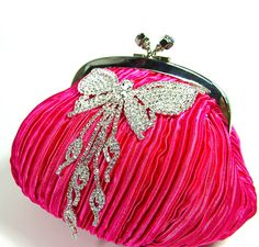 Hot PInk Wedding Purse Evening Clutch Bridal Bag by bloomsnbrides, $42.00
