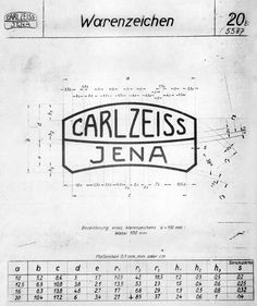 Vintage Spec Sheet for Carl Zeiss Jenna Logo. Its amazing to see how work was achieved without computers :)
