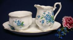 Royal Albert Bone China Forget-Me-Not Cream & Sugar Bowl + Plate/Tray, England #RoyalAlbert