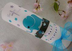 Taufkerze Geburtstagskerze Elefant mint silber Junge Mädchen 250x70 mm mit Name Handmade Candles, Candle Making, Red Bull, Voss Bottle, Mint, Christening, Unique Gifts, Ebay, Decor