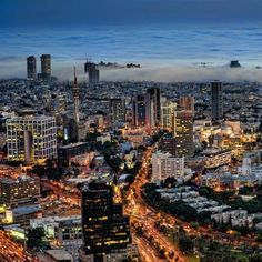 Tel Aviv Skyline at Night.( Photo: Ron Shoshani)