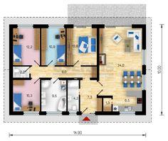 5+kk / 9 Miami, Bungalow House Plans, House Blueprints, Construction, Planer, Photo Wall, Floor Plans, Flooring, How To Plan