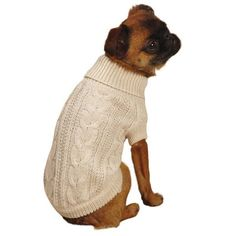 Lurex Cable Knit Dog Sweater - Creme Brulee