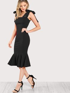 Fishtail Black Dress With Tied Strap Prom Dresses Two Piece, Pretty Prom Dresses, Prom Party Dresses, Sexy Dresses, Evening Dresses, Fashion Dresses, Casual Dresses, Anastasia, Dress For Body Shape