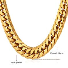 Hip Hop Chains For Men Jewelry Yellow Gold Color Thick Stainless Steel Long Big Necklace