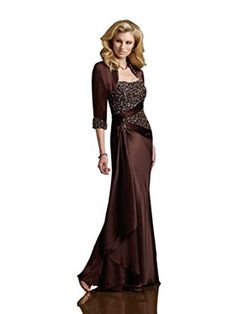 Rina di Montella R21043 Strapless Beaded Satin with Jacket Formal Dress, Cocoa, 8 - Line Skirt; Charmeuse Satin #eveninggown
