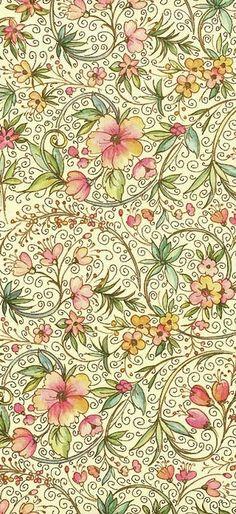 Florals, limited negative space.  Floreado I
