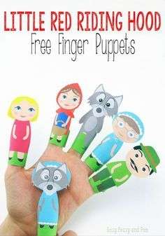 Little Red Riding Hood Finger Puppets – Easy Peasy and Fun - Ostergeschenke Basteln Travel Activities, Preschool Activities, Activities For Kids, Crafts For Kids, Diy Crafts, Little Red Ridding Hood, Red Riding Hood, Hand Puppets, Finger Puppets
