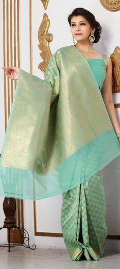 136858, Party Wear Sarees, Silk, Banarasi, Thread, Gold, Green Color Family$74