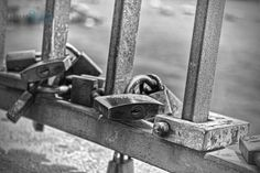 "Photo ""Lockdown"" ( #Sicily )by rikfreeman Won: 1 x Superb Composition 1 x Outstanding Creativity Awards + 4 likes Viewbug Nov 2014 #summer #italy #sicily #acicastello #locks #blackandwhite #minimal #travel"