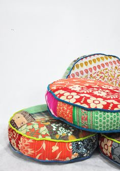 Patchwork floor cushion covers - Indian Kanta Quilt fabrics. 89 usd, via Name Design Studio >> Love these, such wonderful patterns and colors!