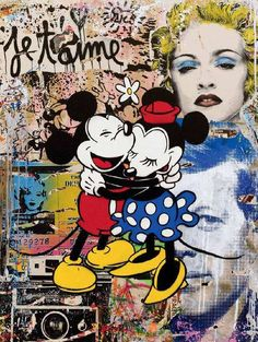 Contemporary Art work by Mr Brainwash, London exhibition Micky Mouse pop art