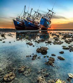 Abandoned Shipwreck at Al Doha port , Kuwait