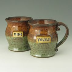 Personalized Coffee Mug Gift Duo Mine & Yours by TwistedRiverClay, $56.00