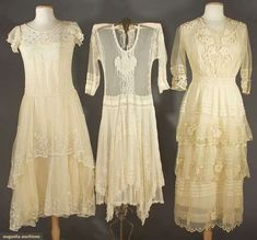 THREE LACE TEA GOWNS, 1915-1930