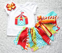 Over the top ADORABLE Circus Theme Birthday outfit! Fabric tutu www.chelsearosebaby.com