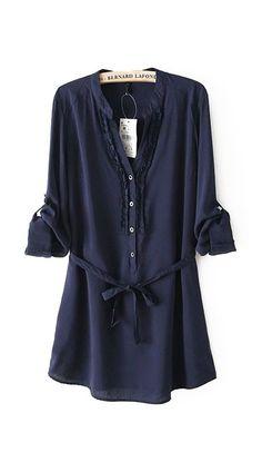 Dark Blue Laple Long Sleeves Blouse With Belt
