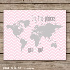 Large world map poster world map art by printablechangeable baby girl nursery decor pink grey nursery decor oh the places you will go gumiabroncs Image collections