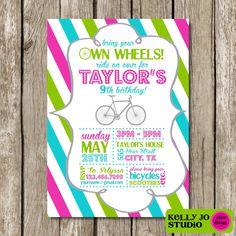 5x7 Bring Your Own Wheels Birthday Invitation  by KellyJoStudio