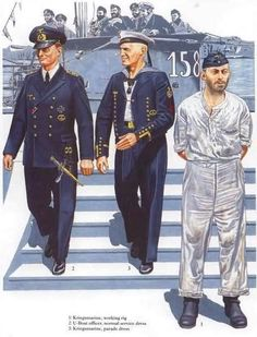 U-Boats ~ Submarine Uniforms - Working Rig, Officer, Normal Service Dress, Officer, Parade Dress ~ BFD Ww2 Uniforms, Navy Uniforms, German Uniforms, Military Uniforms, Military Insignia, Military Art, Luftwaffe, Military Dresses, Army Uniform