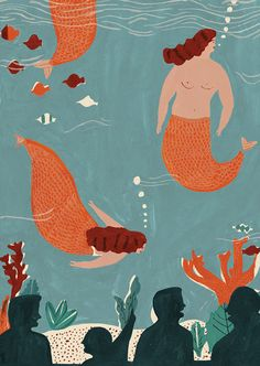 loving this sweet Mermaids poster from Naomi Wilkinson.