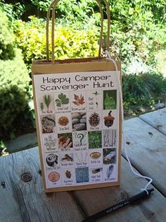 Good Idea for camping with kiddos - Camping scavenger hunt by enid