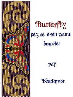 Peyote Pattern for bracelet: Butterfly - INSTANT DOWNLOAD pdf